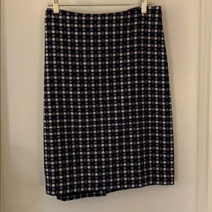 Fully lined wool skirt, blue/black/cream